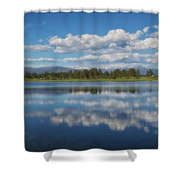 Shower Curtain featuring the photograph Pinon Lake Reflections by Jason Coward