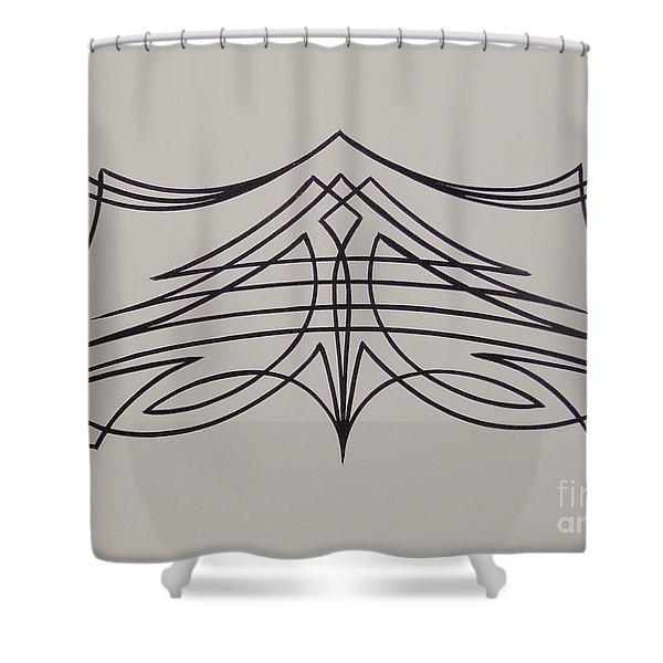Pinstripe Black On White Shower Curtain