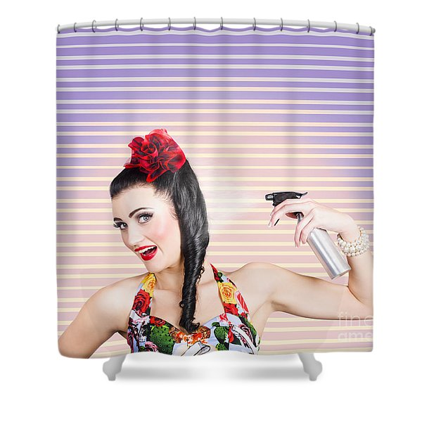 Pinup Woman Styling A Hold With Hair Product Shower Curtain