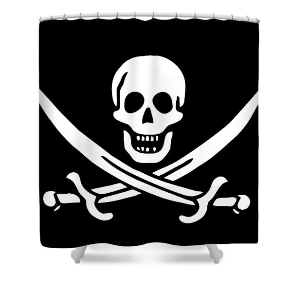 Pirate Flag Jolly Roger Of Calico Jack Rackham Tee Shower Curtain