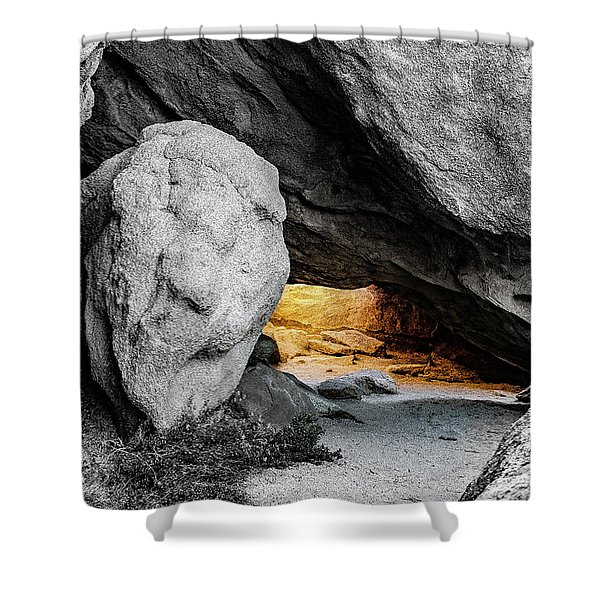 Pirate's Cave, Black And White And Gold Shower Curtain