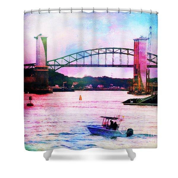 Piscataqua River Bridge From Harborwalk Park, Portsmouth New Hampshire Shower Curtain