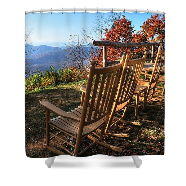 Pisgah Inn's Rocking Chairs Shower Curtain
