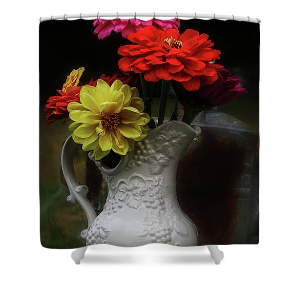 Pitcher And Zinnias Shower Curtain