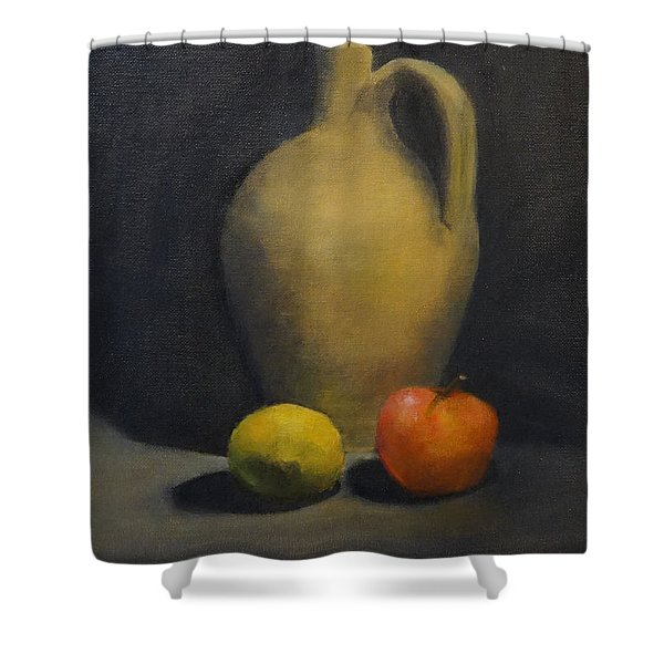 Shower Curtain featuring the painting Pitcher This by Genevieve Brown