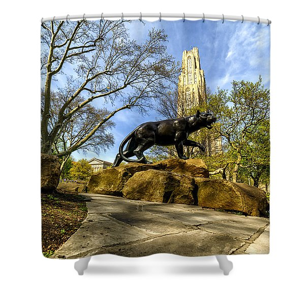 Pitt Panther Cathedral Of Learning Shower Curtain