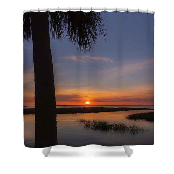 Pitt Street Bridge Palmetto Sunset Shower Curtain