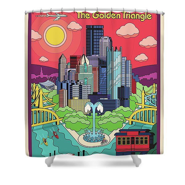 Pittsburgh Poster - Pop Art - Travel Shower Curtain
