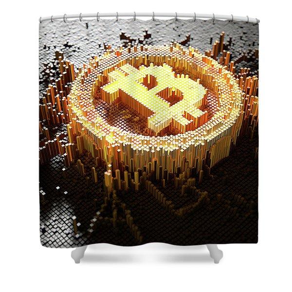 Pixel Bitcoin Concept Shower Curtain