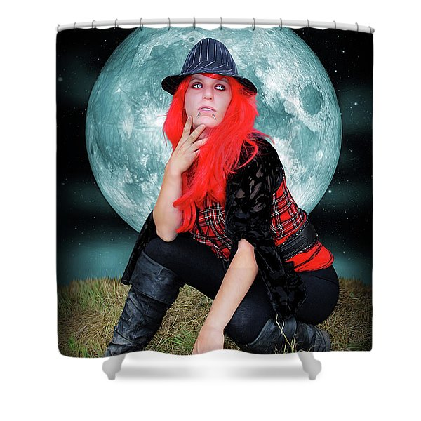 Pixie Under A Blue Moon Shower Curtain