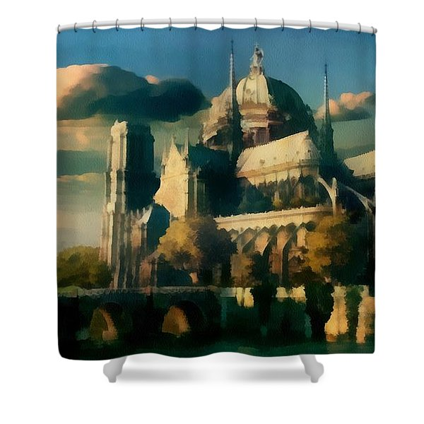Places Angels Dwell Painted In Bleak Shower Curtain