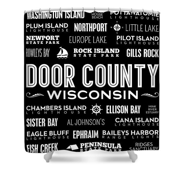 Places Of Door County On Black Shower Curtain