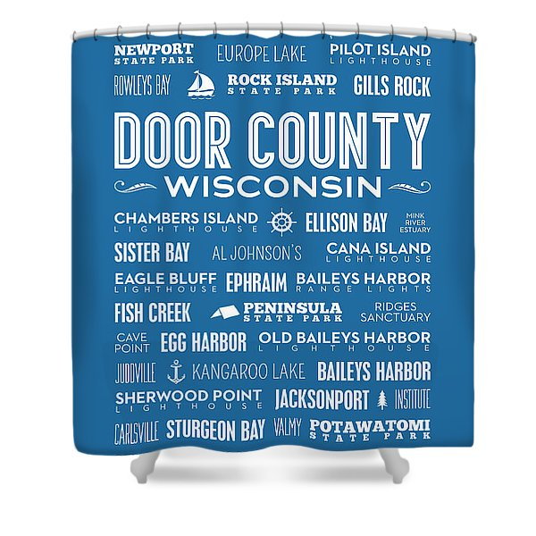 Places Of Door County On Blue Shower Curtain