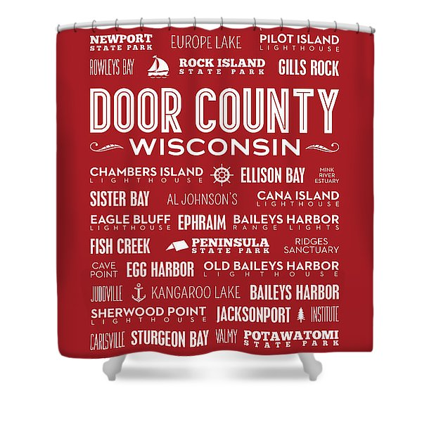Places Of Door County On Red Shower Curtain