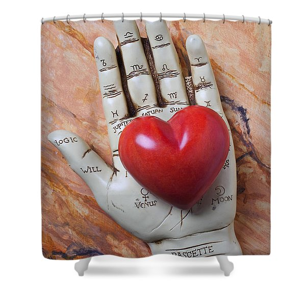 Plam Reader Hand Holding Red Stone Heart Shower Curtain