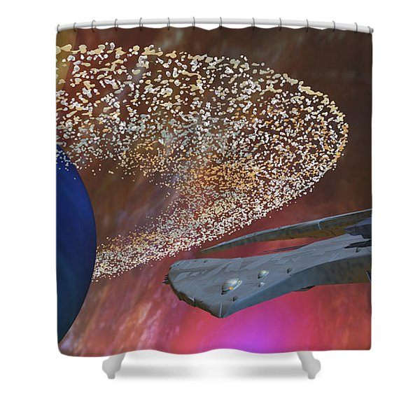 Planet Asteroids Shower Curtain