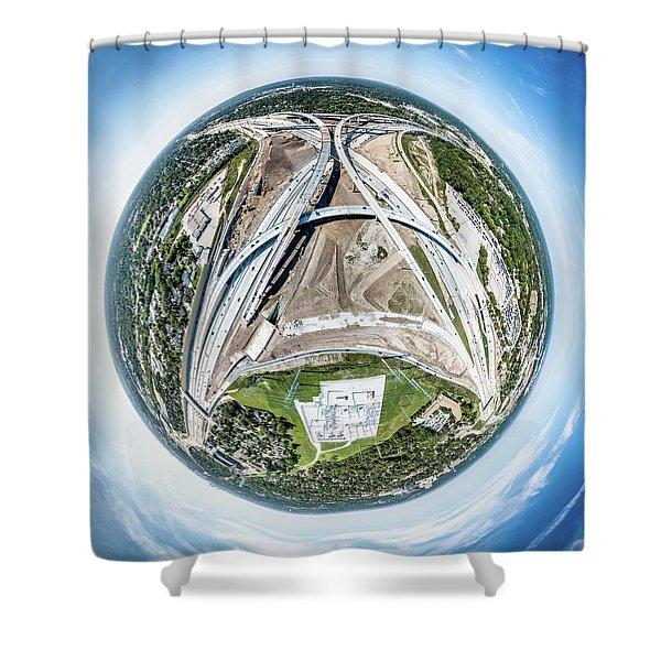 Planet Under Construction Shower Curtain