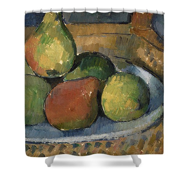 Plate Of Fruit On A Chair Shower Curtain