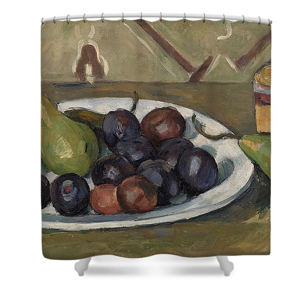 Plate With Fruit And Pot Of Preserves Shower Curtain