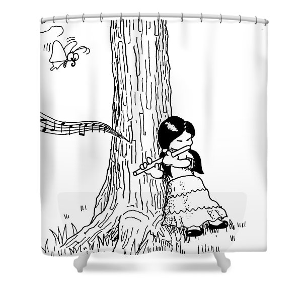 Play The Flute Under The Tree Shower Curtain