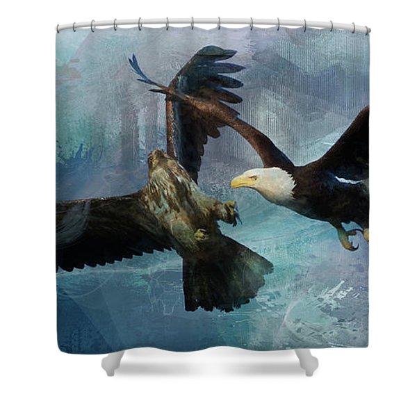 Playful Eagles Shower Curtain