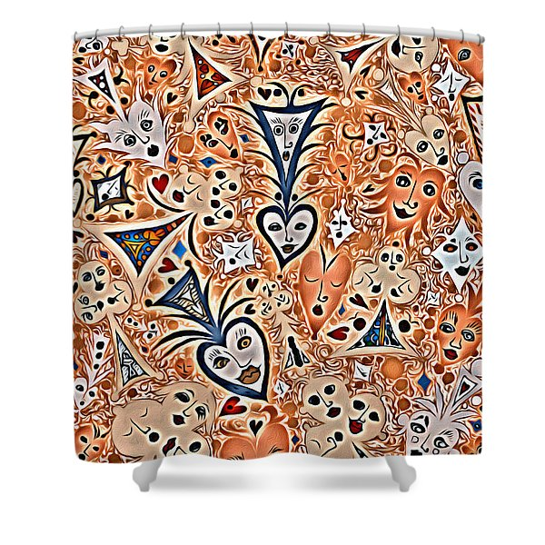 Playing Card Symbols With Faces In Rust Shower Curtain