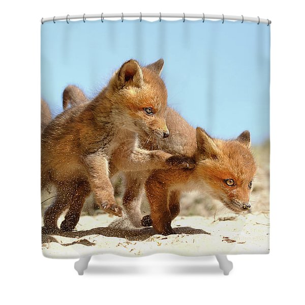 Playing Fox Kits Shower Curtain