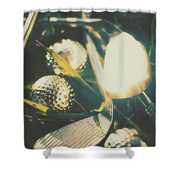 Playing The Golfing Field Shower Curtain