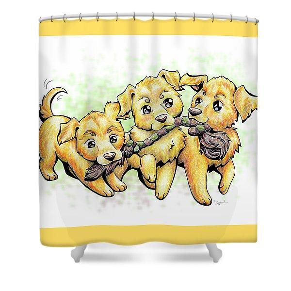 Playtime Golden Retriever Shower Curtain