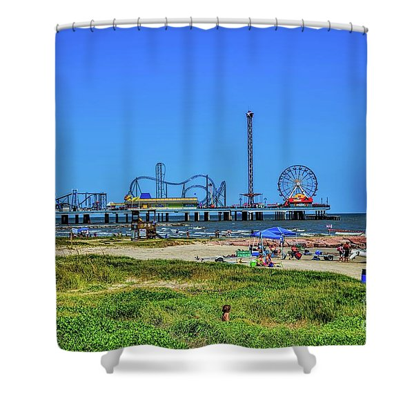 Pleasure Pier Sunny Day Shower Curtain
