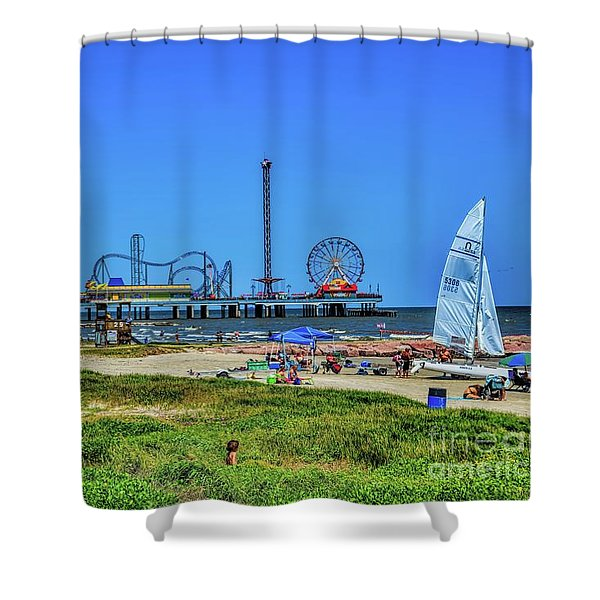 Pleasure Pier Sunny Day Shower Curtain