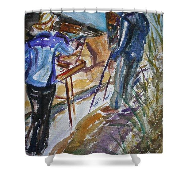 Plein Air Painters - Original Watercolor Shower Curtain