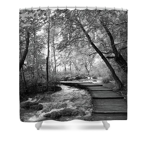 Plitvice In Black And White Shower Curtain