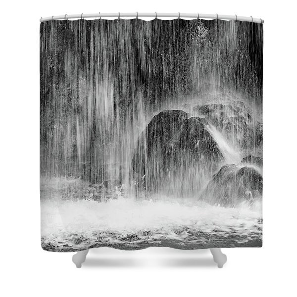 Plitvice Waterfall Black And White Closeup - Plitivice Lakes National Park, Croatia Shower Curtain