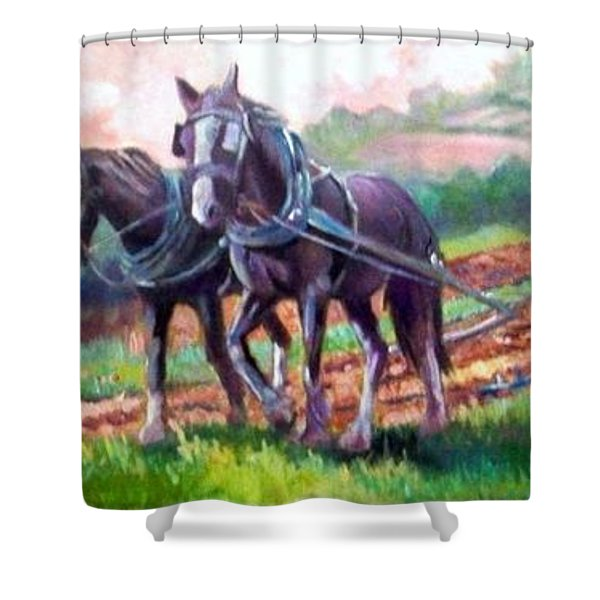 Ploughing Shower Curtain