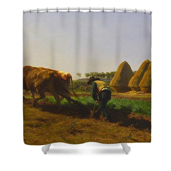 Ploughing Scene Shower Curtain