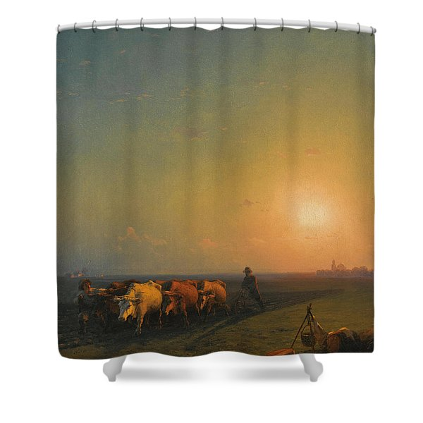Ploughing The Fields. Crimea Shower Curtain