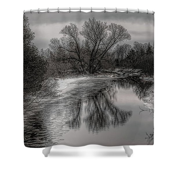 Plover River Black And White Winter Reflections Shower Curtain