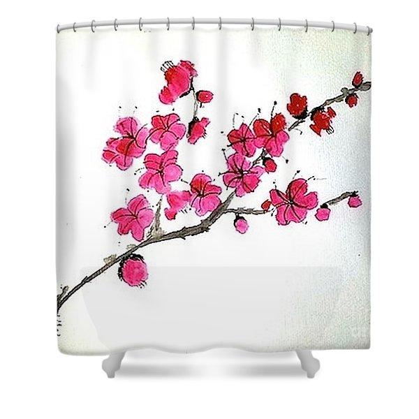 Plum Blossoms Shower Curtain
