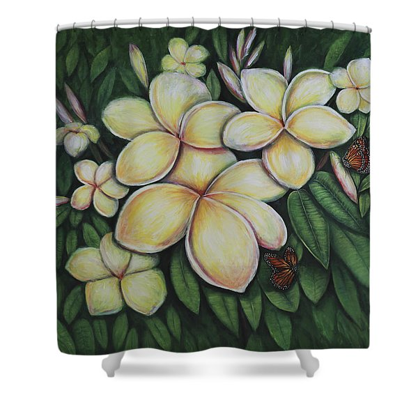 Shower Curtain featuring the painting Plumeria by Lynn Buettner