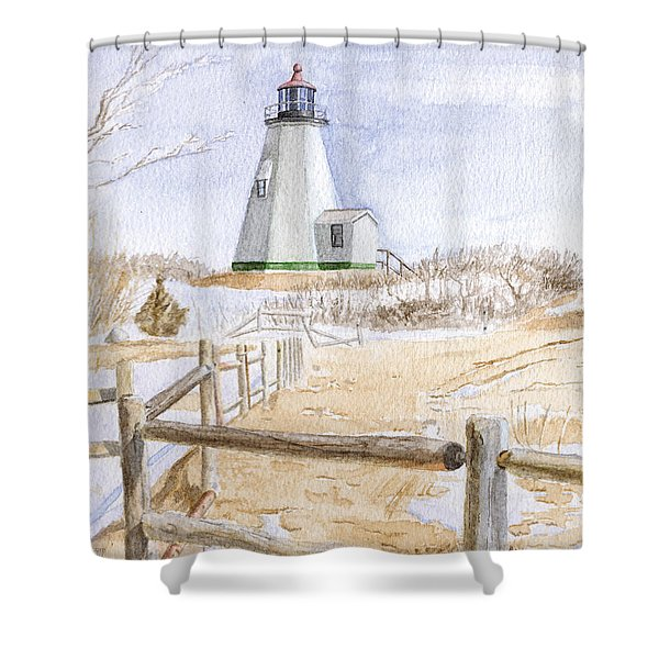 Shower Curtain featuring the painting Plymouth Light In Winter by Dominic White
