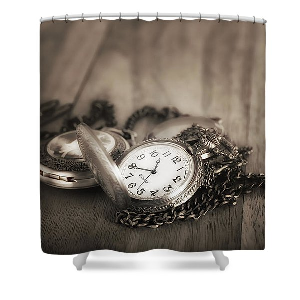 Pocket Watches Times Three Shower Curtain