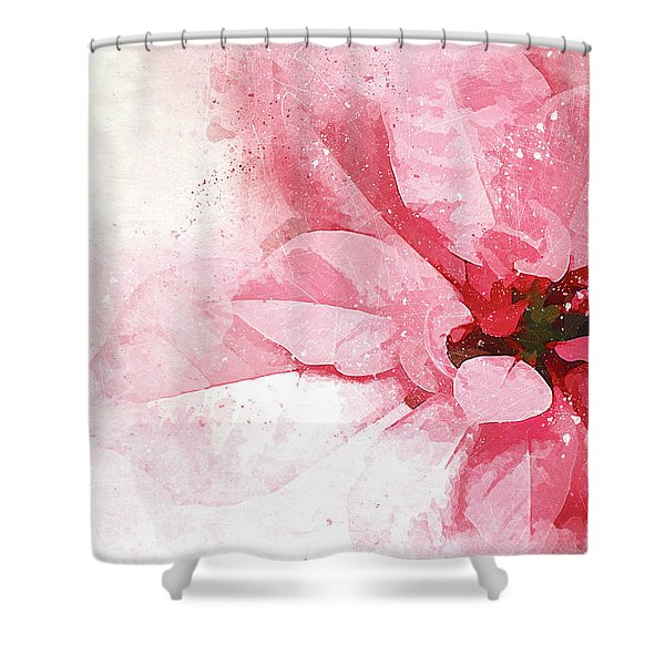 Poinsettia Abstract Shower Curtain