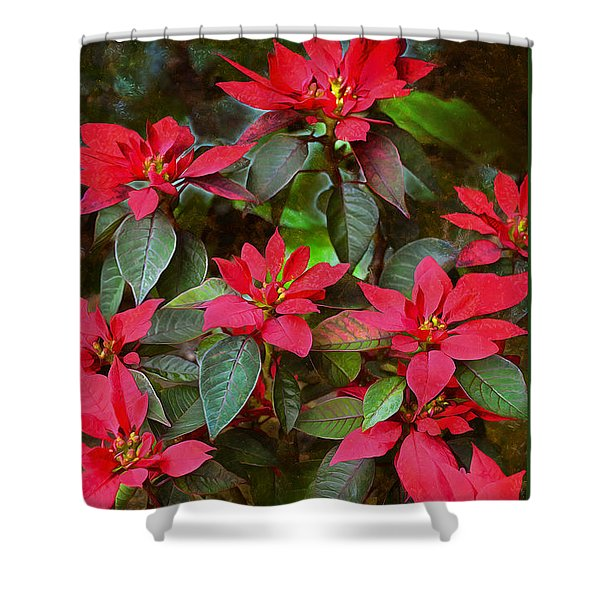 Poinsettia Christmas Shower Curtain