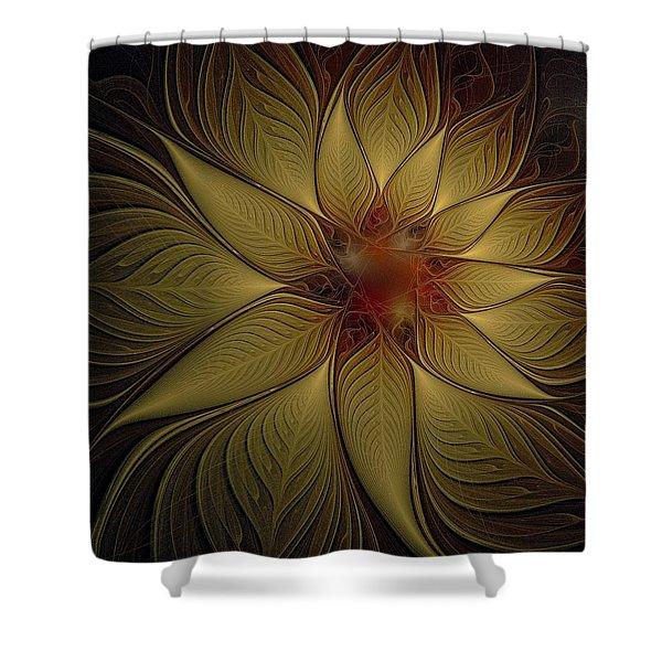 Poinsettia In Gold Shower Curtain