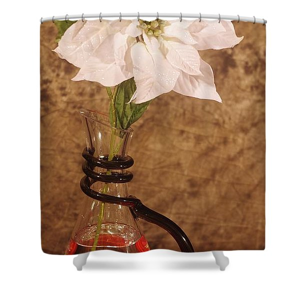 Poinsettia In Pitcher  Shower Curtain