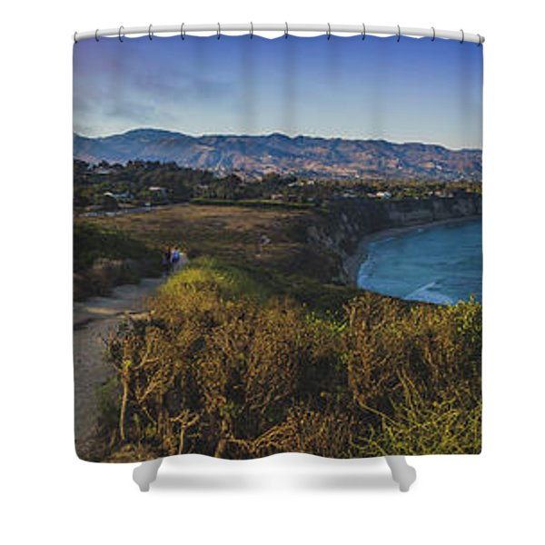 Point Dume Sunset Panorama Shower Curtain