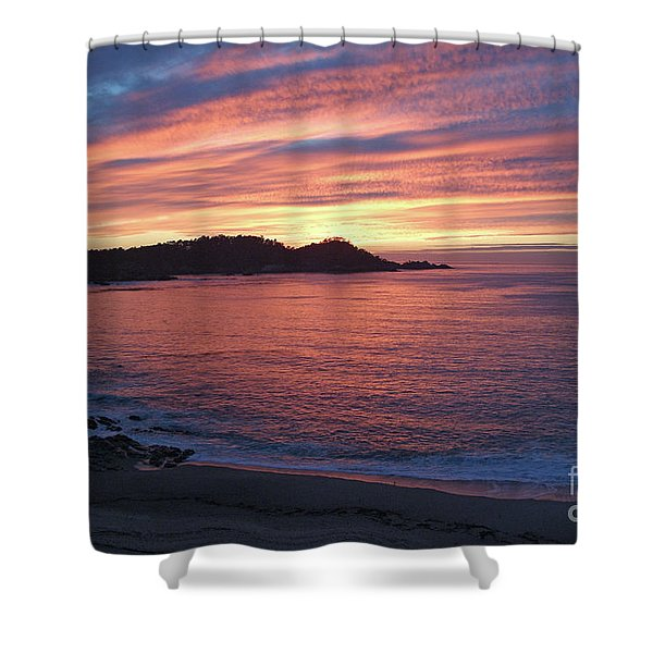 Point Lobos Red Sunset Shower Curtain