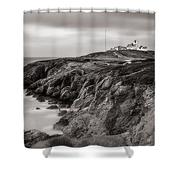 Point Lynas Lighthouse In Llaneilian On Anglesey Shower Curtain
