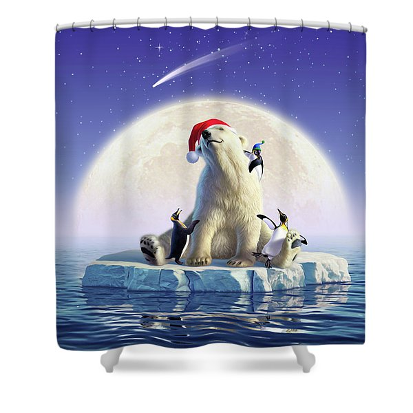 Polar Season Greetings Shower Curtain